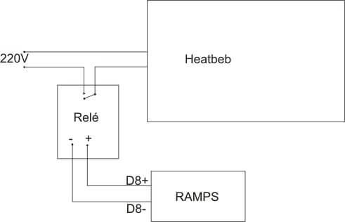 Conexionado relé para heatbed 200V